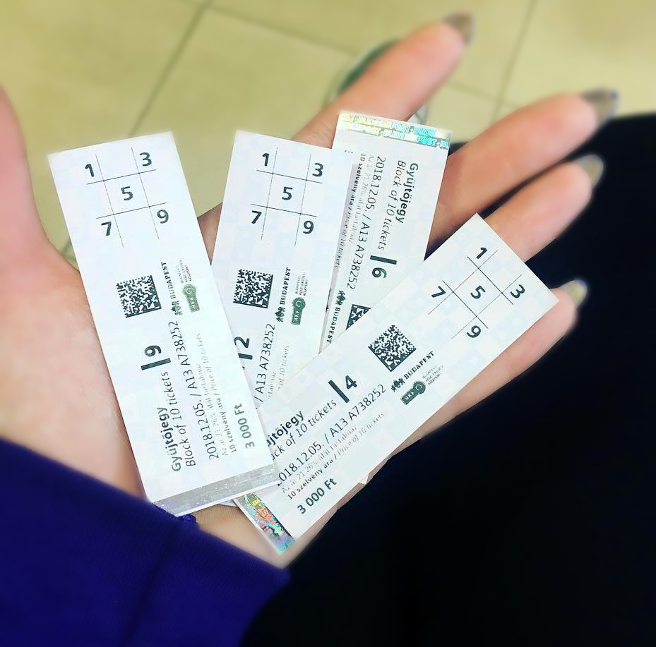Photo of tickets in Budapest.